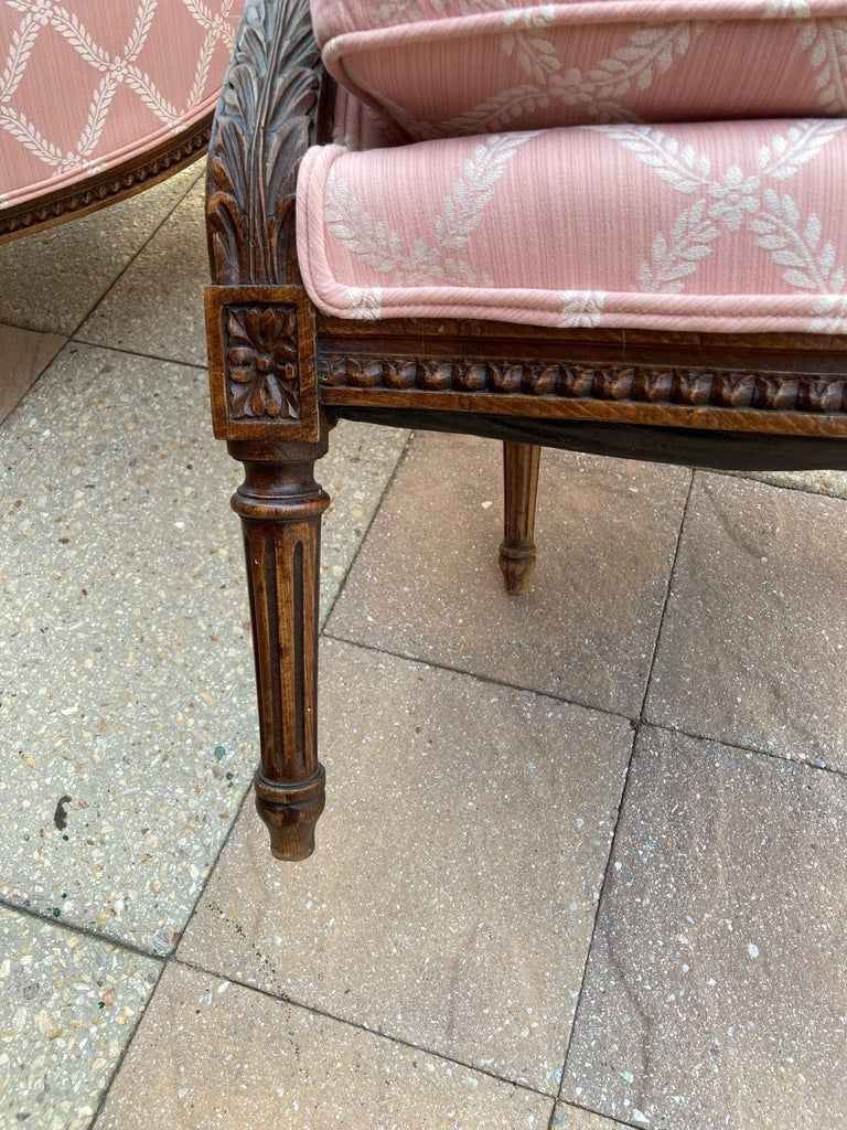 Elegant Pair of Classic French Style Bergere Chairs with Walnut Frames For Sale 4