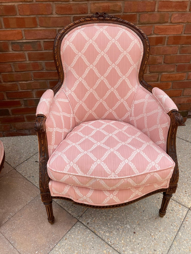 North American Elegant Pair of Classic French Style Bergere Chairs with Walnut Frames For Sale