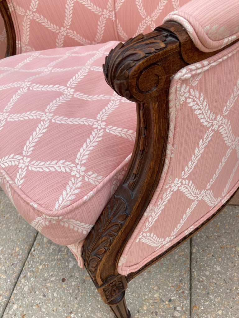 Upholstery Elegant Pair of Classic French Style Bergere Chairs with Walnut Frames For Sale