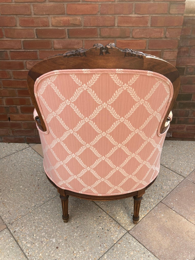 Elegant Pair of Classic French Style Bergere Chairs with Walnut Frames For Sale 2