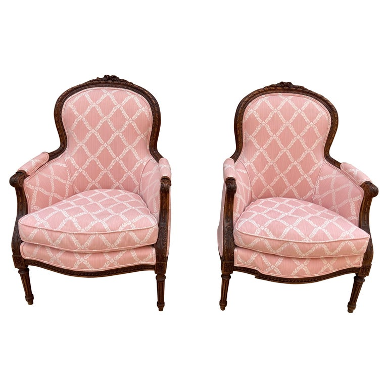 Elegant Pair of Classic French Style Bergere Chairs with Walnut Frames For Sale
