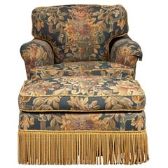2 Elegant Pairs of Denning & Fourcade Club Chairs and Matching Ottomans