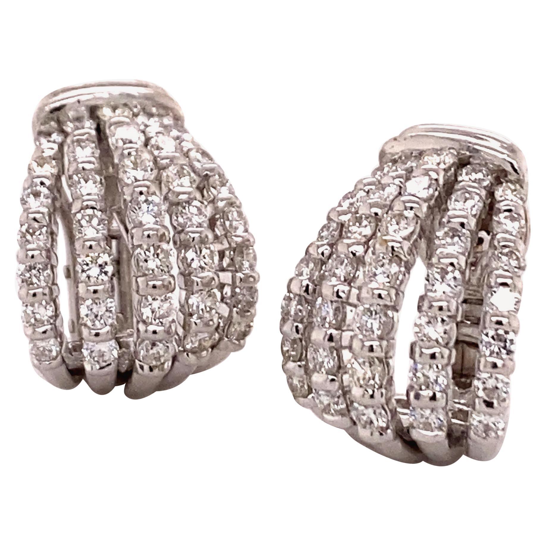 Elegant Pair of Diamond Earclips in 18 Karat White Gold
