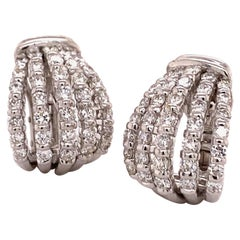Elegant Pair of Diamond Earclips in 18 Karat White Gold
