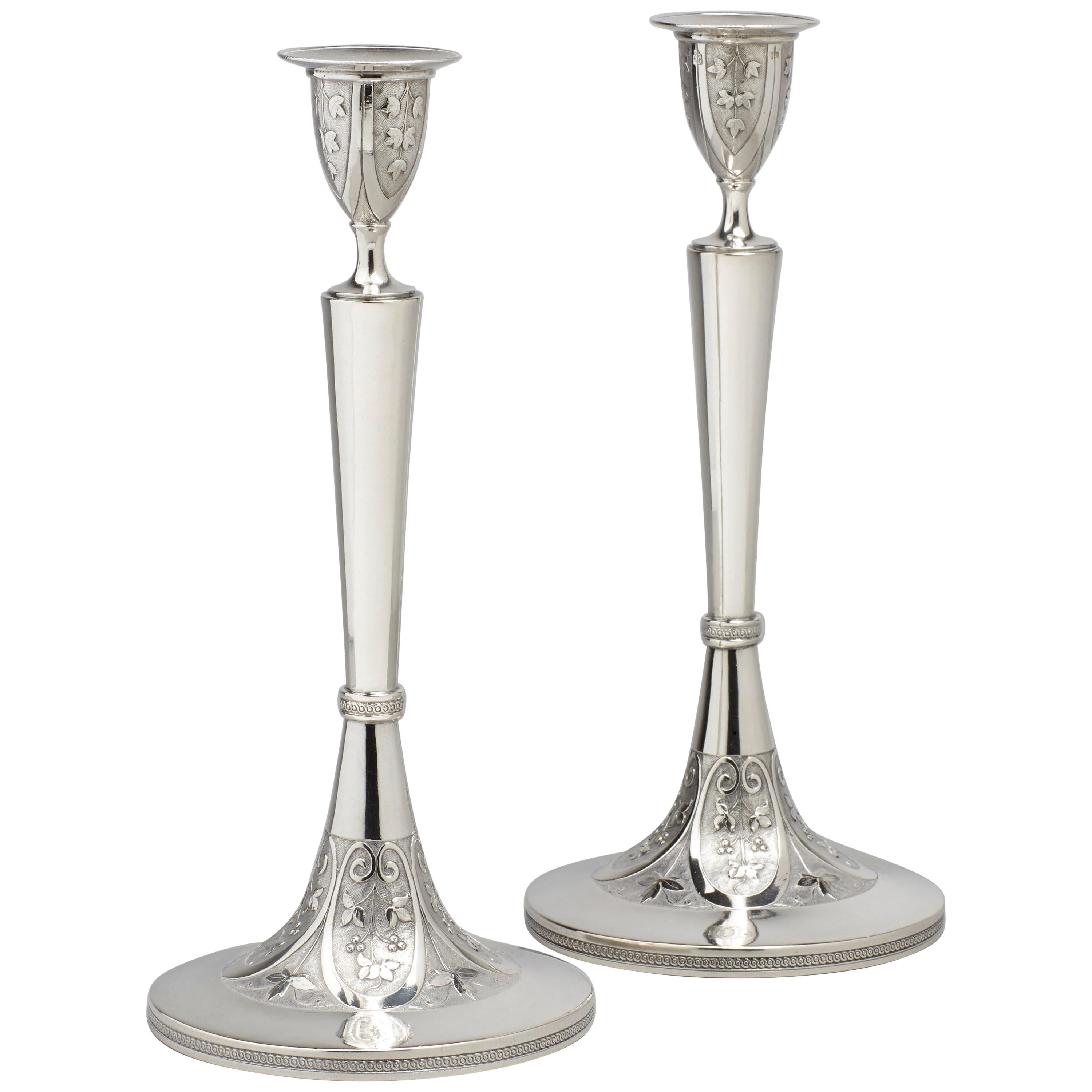Elegant Pair of Early 19th Century Neoclassical Silver Candlesticks