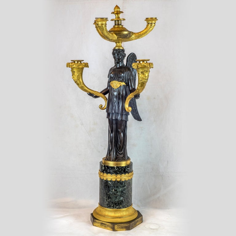 French Elegant Pair of Empire Patinated and Gilt-Bronze Five-Light Candelabras For Sale