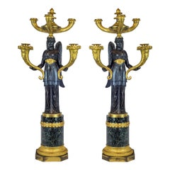 Elegant Pair of Empire Patinated and Gilt-Bronze Five-Light Candelabras