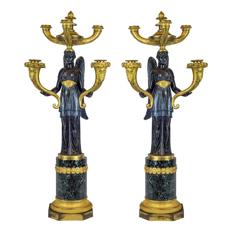 Elegant Pair of Empire Patinated and Gilt-Bronze Five-Light Candelabras For Sale