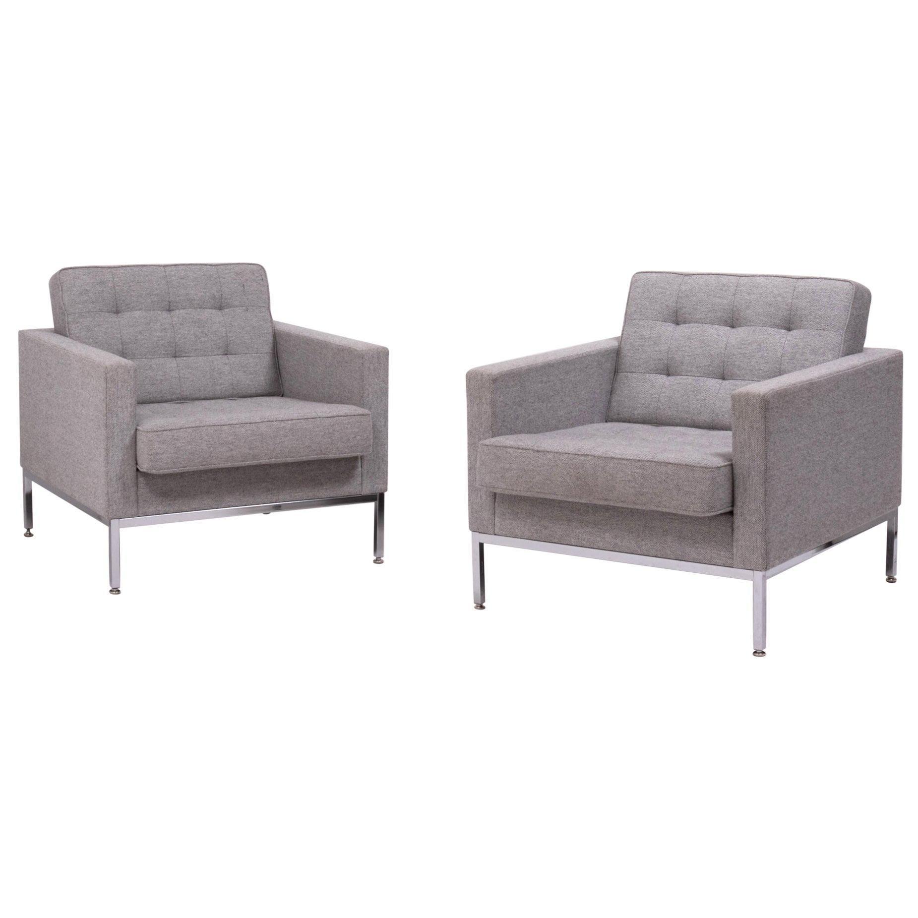 Elegant Pair of Florence Knoll Grey Wool Armchairs