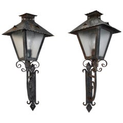 Elegant Pair of French 1940s Wrought Iron Outdoor Sconces