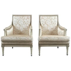 Elegant Pair of French Antique Louis XVI Style Carved Armchairs Club Chairs