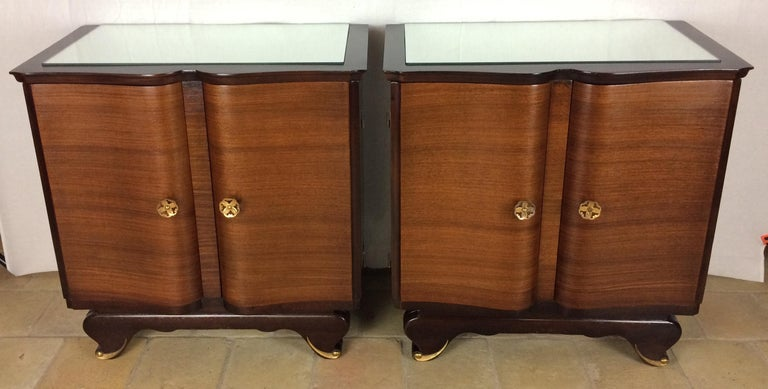 Brass Elegant Pair of French Art Deco Nightstands or Side Tables, Rosewood For Sale