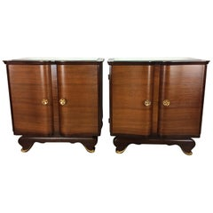 Elegant Pair of French Art Deco Nightstands or Side Tables