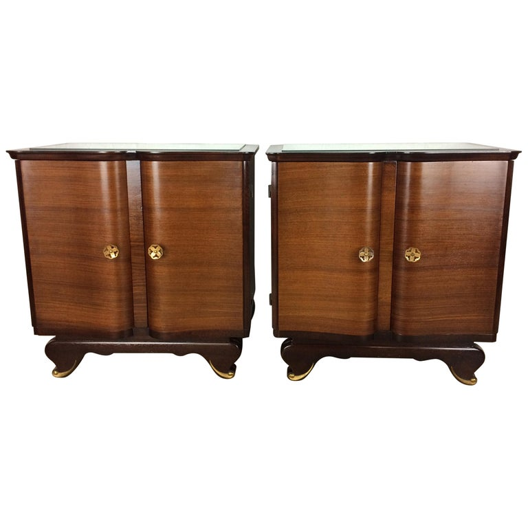 Elegant Pair of French Art Deco Nightstands or Side Tables, Rosewood For Sale