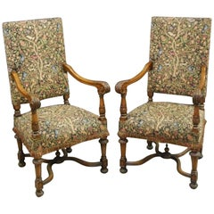 Elegant Pair of French Baroque Style Carved Fauteuils with Fabric Covers