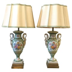 Elegant Pair of French Hand Painted Porcelain Lamps