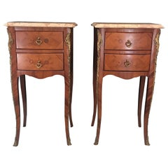 Elegant Pair of French Louis XV Marble-Top Nightstands
