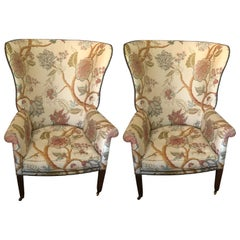 Elegant Pair of Georgian Style Wing Chairs by William Switzer