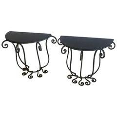 Elegant Pair of Italian Salterini Style Iron Demilune Console Tables