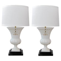 Elegant Pair of Italian White-Glazed Basket-Weave Urn-Form Lamps