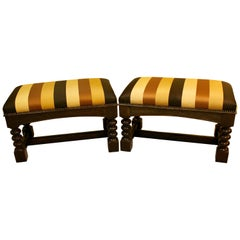 Elegant Pair of Jacobean Style Stained Walnut Benches