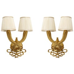 Elegant Pair of Jules and André Leleu Gilt-Bronze Double Torsade Sconces