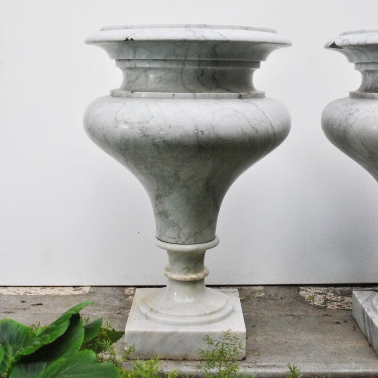 Elegant Pair of Large Carrara Marble Vases, Period Early 20th Century For Sale 6