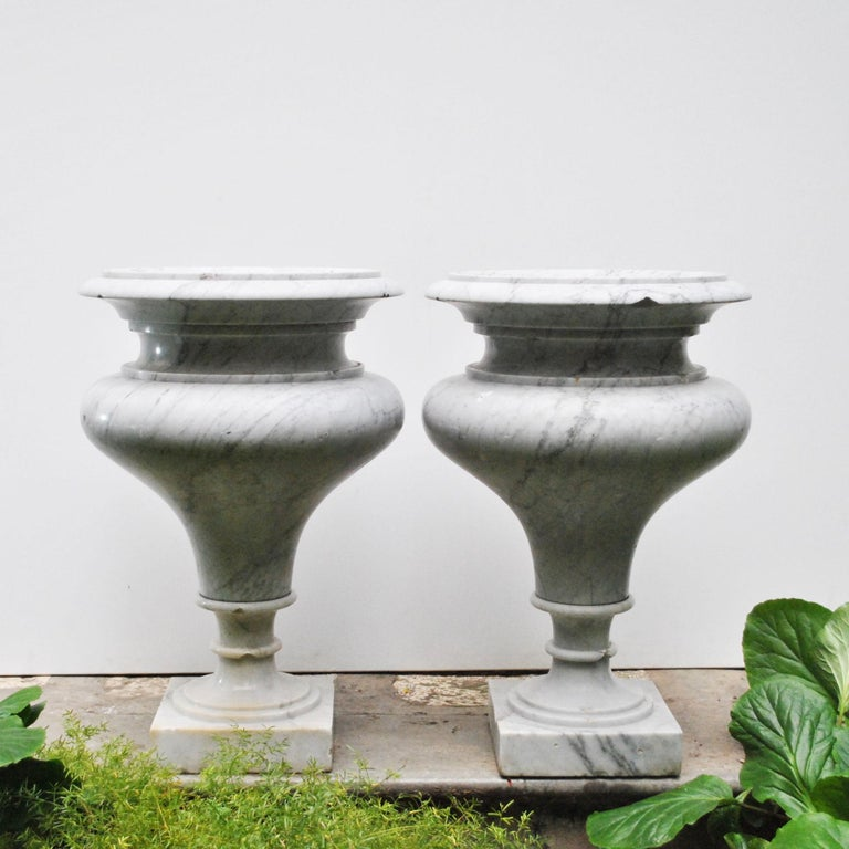 Wonderful pair of monumental Carrara marble early 20th century of roman school.