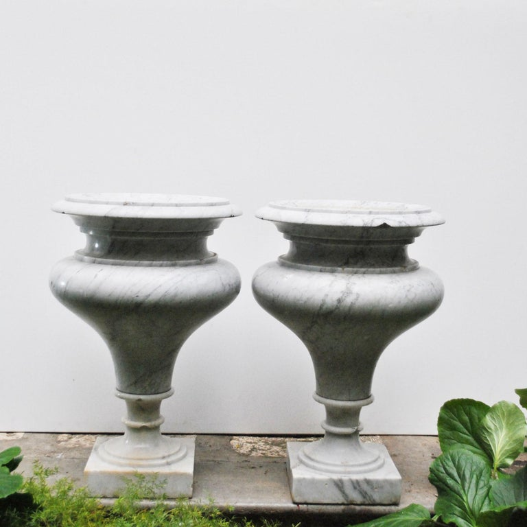 Italian Elegant Pair of Large Carrara Marble Vases, Period Early 20th Century For Sale