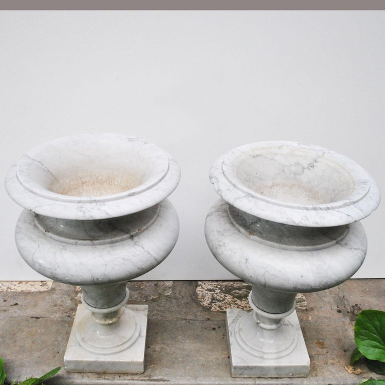 Elegant Pair of Large Carrara Marble Vases, Period Early 20th Century For Sale 2
