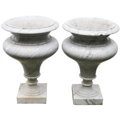 Elegant Pair of Large Carrara Marble Vases, Period Early 20th Century