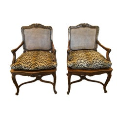 Elegant Pair of Large Carved Walnut French Fauteuil Armchairs