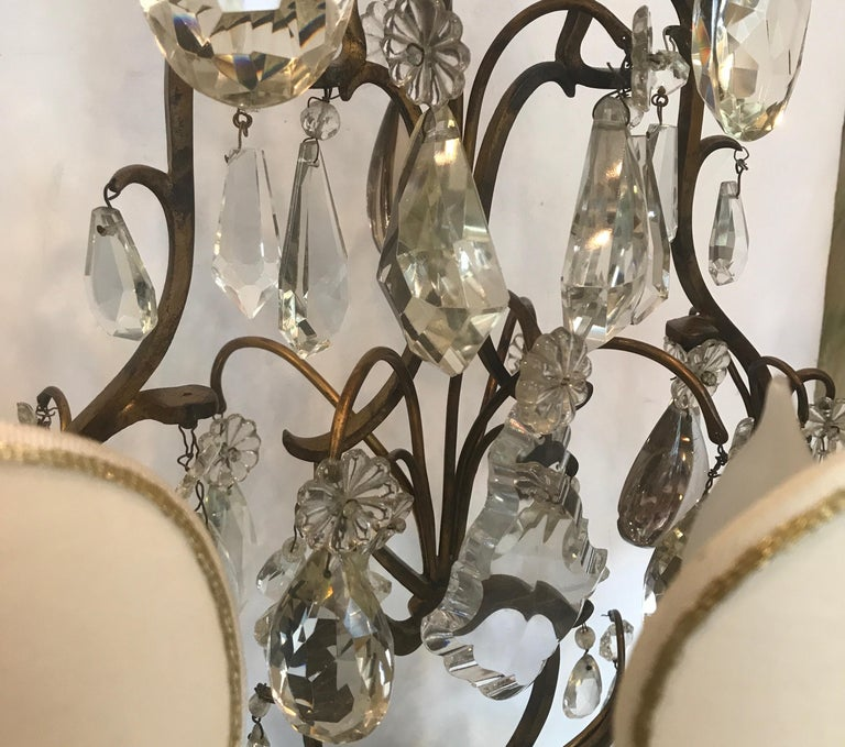 Elegant Pair of Large French Bronze and Crystal Girandoles For Sale 8