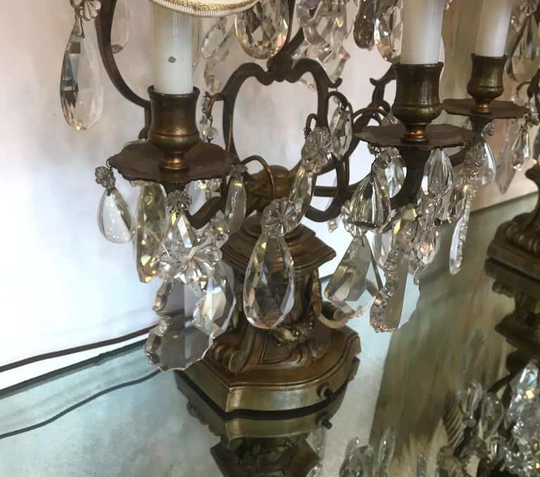 Elegant Pair of Large French Bronze and Crystal Girandoles For Sale 9