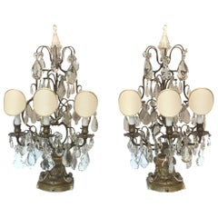 Elegant Pair of Large French Bronze and Crystal Girandoles