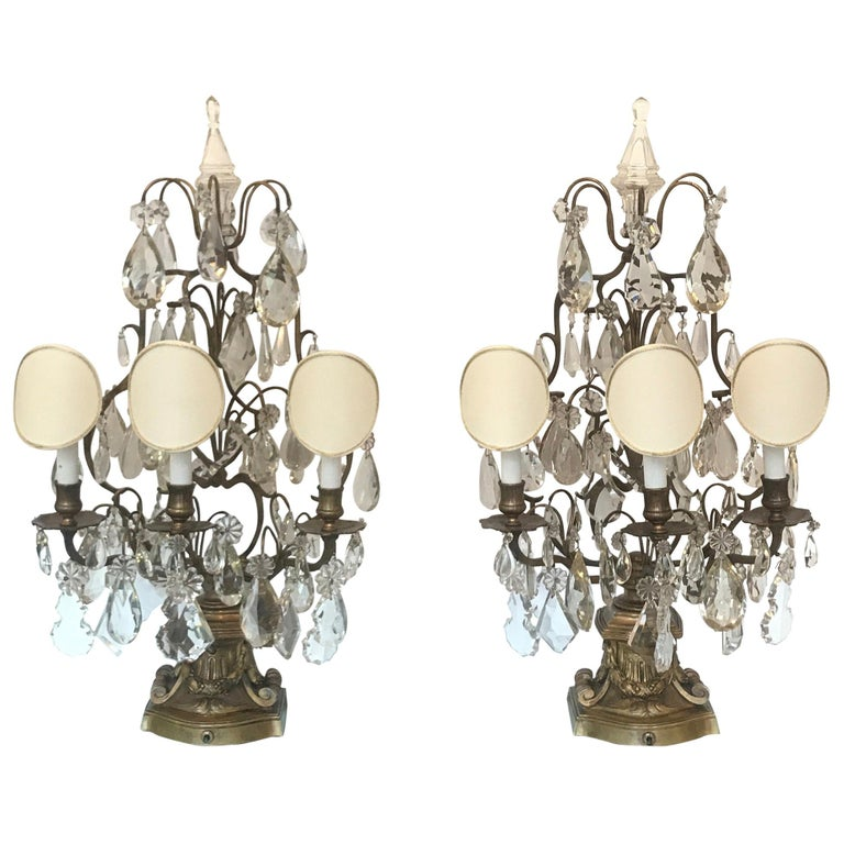 Elegant Pair of Large French Bronze and Crystal Girandoles For Sale