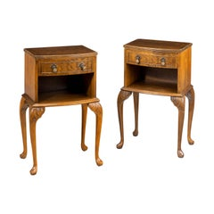 Elegant Pair of Late 20th Century Highly Figured Mahogany Bedside Cabinets