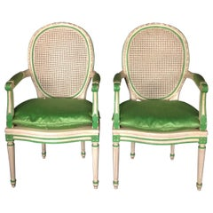 Elegant Pair of Louis XVI Style Painted Neoclassical Chairs