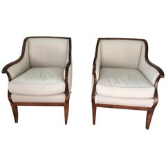 Elegant Pair of Mahogany and Upholstered French Vintage Club Chairs