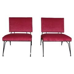 Elegant Pair of Modernist Armchairs in Lush Red Velveteen Upholstery