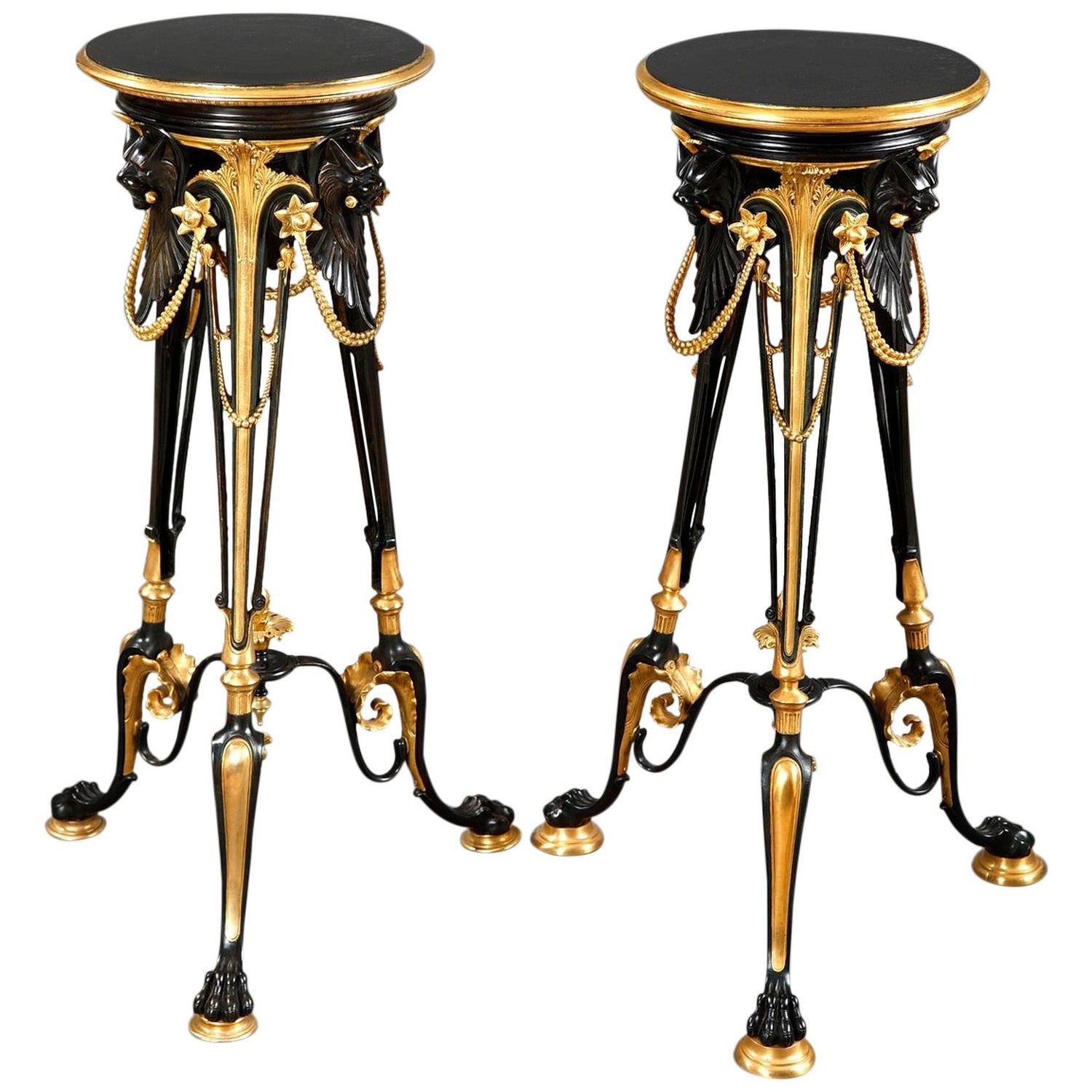 Elegant Pair Of Neo Greek Bronze Stands Attributed To G Servant