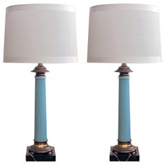 Elegant Pair of Paul Hanson 1960s Columnar-Form Pale-Blue Glass Lamps
