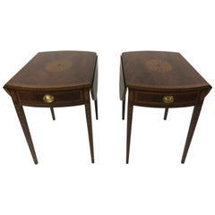 Elegant Pair of Pembroke Drop-Leaf End Tables by Councill