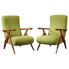 Elegant Pair of Reclining Green Armchairs in Fruitwood and Brass, Italy 1950s