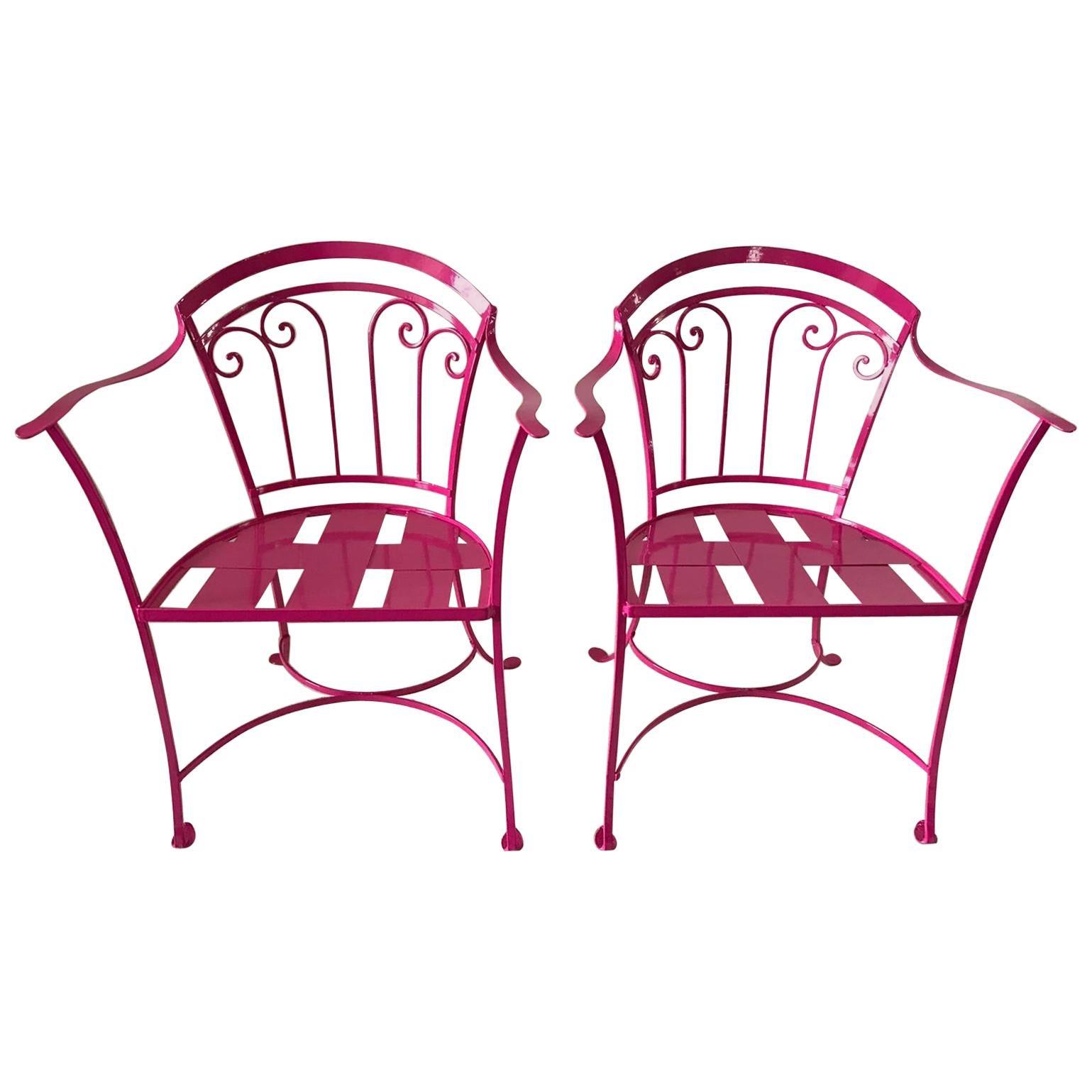 Elegant Pair of Salterini Wrought Iron Armchairs in Passion Pink