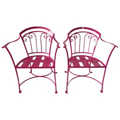 Elegant Pair of Salterini Wrought Iron Armchairs in Passion Pink