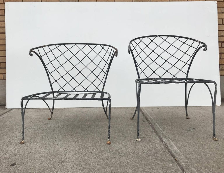 Elegant pair of Salterini wrought iron outdoor Patio garden chairs. Stunning design, exceptional quality.