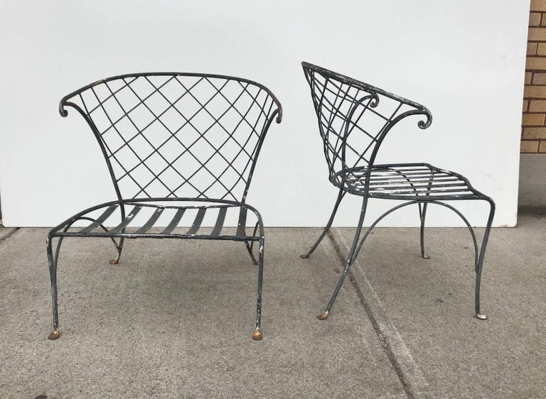 Elegant Pair Of Salterini Wrought Iron Outdoor Patio