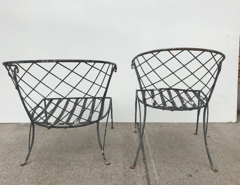 American Elegant Pair of Salterini Wrought Iron Outdoor Patio Garden Chairs For Sale