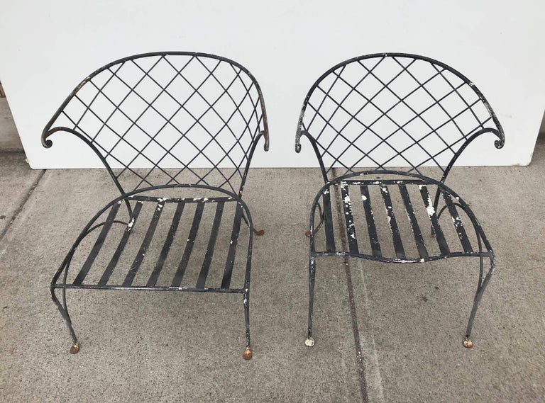 Elegant Pair of Salterini Wrought Iron Outdoor Patio Garden Chairs In Good Condition For Sale In Buffalo, NY
